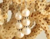 Sterling & Triple Pearl Earrings