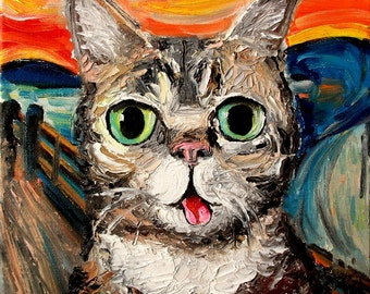 Lil Bub Meets The Scream stretched canvas print of original oil painting by Aja 8x10 inches