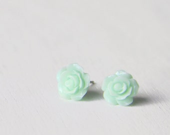 Mint Green Camellia Flower Earrings. Surgical Steel Earrings Post. Pastel Green Rose Stud Earrings. Bridesmaid Earrings.