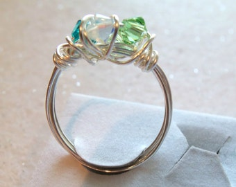 Mother Ring, Mommy Ring, Silver or Gold Plated Permanate Wire Wrapped Ring, Non Tarnish Wire, Birthstone Ring, Grandma Ring, Crystal Ring