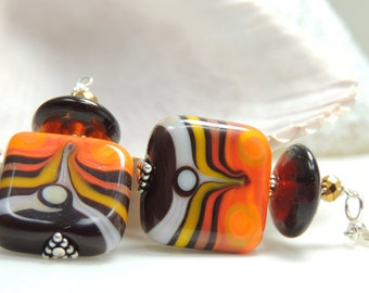 WESTERN Handmade Lampwork Bead Dangle Earrings