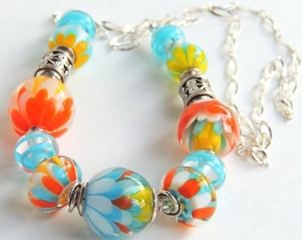 FRESH AIR and SUNSHINE Handmade Lampwork Bead Necklace