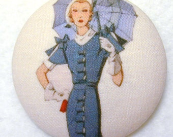 Vintage Fashion - Hand Printed Fabric Covered Button 1 and 1/2 inch Diameter FASFAB 26