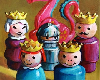 Fisher Price Little People Royal Family 8x10 giclee print of original painting