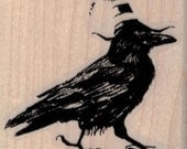 Halloween Rubber stamp  raven witch hat Steampunk  supplies Poe faded crow raven  scrapbooking supplies 19509