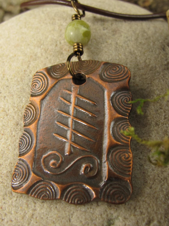 Elder Tree Ogham Copper Pendant Celtic Jewelry Tree