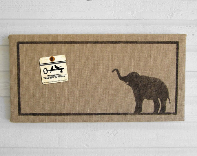 Miss Baba the Elephant - 12 x 24 Burlap over Cork Message Board, Pin Board, Memo Board, Bulletin Board - Elephant wall decor