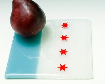 Greetings from Chicago Flag Fused Glass Trivet