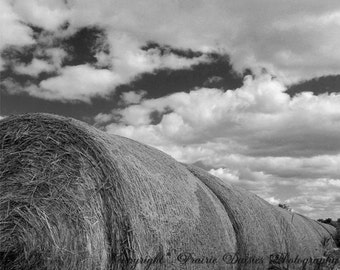 "Hay bales photo, Farm photo, Ranch, 8x10, 11x14, 16x20, Wall art, Home decor, Black and white photo, Clouds, ""Hay Bales"""