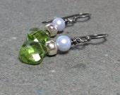 Peridot Earrings Lavender Pearl Earrings August Birthstone Earrings Oxidized Sterling Silver Earrings