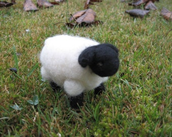 Needle Felted Sheep with Black Face