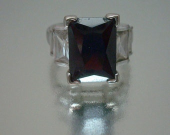 Silver Tone Large Deep Red Glass Rhinestone Ring Vintage