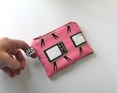 MINI. Vintage Pink TV pouch.  gift card holder.  coin purse. ruffles zipper pouch. chocolate brown, white. Retro fabric TV print