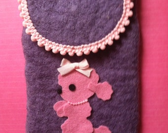 Adorable Handmade Poodle Lover Eye Glass Case Pink Purple Cute