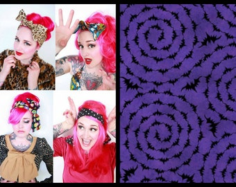 Purple Bat Print Headwrap, Hair Bow Bandana, Bandana Head Scarf -Retro Rockabilly