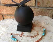 Handmade Turquoise and Copper Viking Knit Necklace