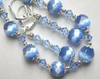 Catseye Blue Bracelet and Earring Set Swarovski Crystal Silver