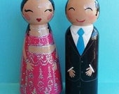 Hand Painted Love Boxes Custom Wedding Indian Bride Groom Cake Topper Peg Doll Wood