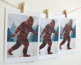 Postcards - Set of Postcards - Big Foot Cards - Big Foot Postcards - Sasquatch Postcard - Set of Three Sasquatch Postcards