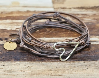 Have a Little Heart Wrap Bracelet  - Leather and Silver Valentines Heart