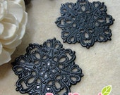 FG-FG-09363- Nickel Free, lead free, black enameled ,Big Square filigree V1, 4 pcs