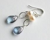 Blue Quartz Earrings, Mystic Quartz Teardrops, Pearl Earrings, Sterling Silver Drops