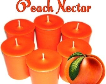 6 Peach Nectar Votive Candles Juicy Fruit Scent