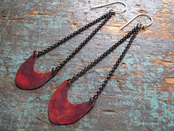 Small Pendulum Earrings - Copper