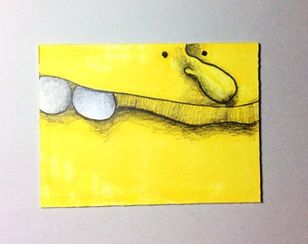 Yellow Monster ACEO by Aaron Butcher