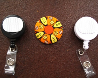 Orange and Yellow Flower Fabric Covered Button for Clip on Retractable Badge Reel