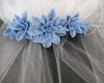 Blue Cold Porcelain Floral Barrette
