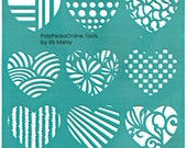 "Stencil Stencils Pattern Template ""Hearts"" 6 inch/15 cm, reusable, adhesive, flexible, for polymer clay, fabric, wood, glass, card making"