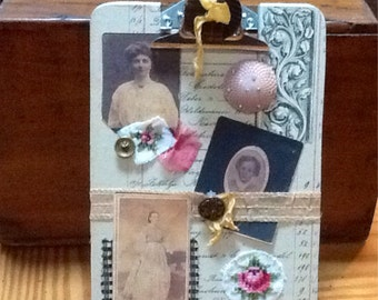 9 x 6 clip board vintage ephemera collage art