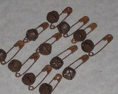12 Primitive Safety Pins and 12 Rusty Jingle Bells (10mm) Supplies for Crafting Scrapbooking Ornies Dollies and More