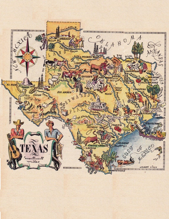 map of Texas from the 1940s funny pictorial map digital