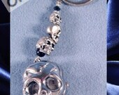 Skull Watch Necklace with Pewter Skull Beads or Key Chain or Car Charms