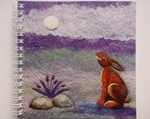 Notebook with Printed Cover Featuring a Felt Hare Gazing At The Moon