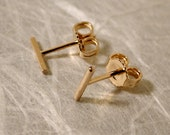 7mm x 1mm Dainty Gold Earrings Thin Minimal Bar 14k Gold Stud Earrings by SARANTOS
