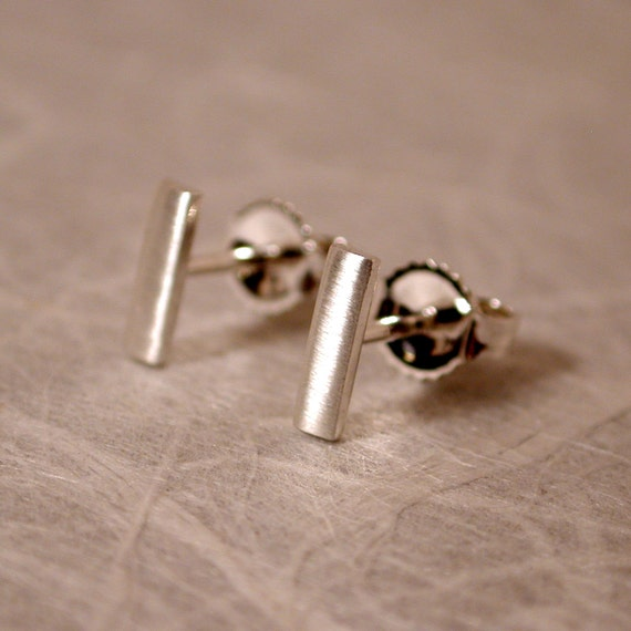 7mm x 2mm brushed stud earrings sterling silver bar by