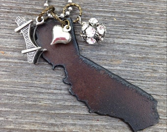 I LOVE California Necklace - Recycled Metal State Shape Bear Golden Gate Bridge Trolley or Hollywood Sign Charms