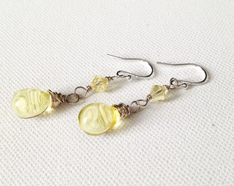 Yellow Teardrop Briolette & Swarovski Crystal Earrings - Sterling Silver - UK Seller