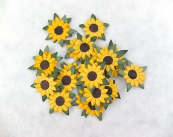 50 pcs - 1 inch paper sunflower embellishments - die cut sunflowers - yellow paper flowers