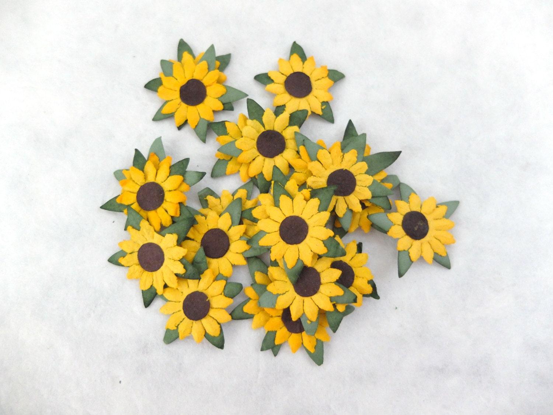 50 Pcs 1 Inch Paper Sunflower Embellishments Die Cut