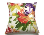 Decorative Pillow Cover Wildflowers Design Green Yellow Shades of Red PurpleFloral Same Fabric Front/Back Throw Accent 18 x18 inch x