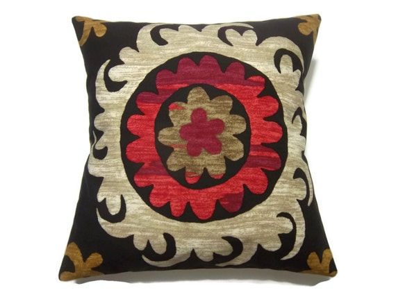 decorative pillow cover brown red oatmeal gold bold medallion. Black Bedroom Furniture Sets. Home Design Ideas