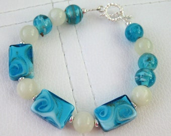 Turquoise Blue Glass and Green Jade Bracelet