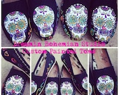 Sugar Skulls Day of the Dead hand painted Black TOMS with crystal bling!