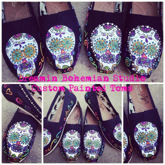 TOMS Painted Shoes Mexican Skull with Bling Day of the Dead