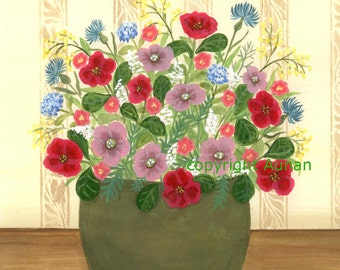 Floral Painting, signed Archival Print, Floral Art