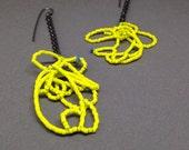 Scribble earrings in neon yellow beaded dangle chandelier earrings oxidized sterling art earrings sculptural art jewelry jaime jo fisher